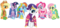 Size: 7500x3500 | Tagged: absurd res, applejack, artist:midnight--blitz, clothes, dress, fluttershy, gala dress, pinkie pie, rainbow dash, rarity, safe, simple background, transparent background, twilight sparkle, vector