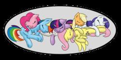 Size: 1500x750 | Tagged: dead source, safe, artist:denial-is-tragic, applejack, fluttershy, pinkie pie, rainbow dash, rarity, twilight sparkle, earth pony, pegasus, pony, unicorn, cuddle puddle, mane six, pillow, simple background, sleeping, transparent background, unicorn twilight