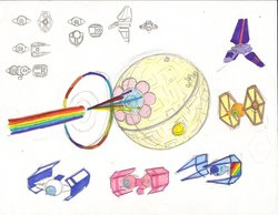 Size: 900x699 | Tagged: safe, applejack, fluttershy, pinkie pie, rainbow dash, rarity, twilight sparkle, darth rarity, death star, lambda-class shuttle, orbital friendship cannon, rainbow beam, sketch, star wars, starfighter, tie bomber, tie fighter, tie fighter advanced x1, tie interceptor