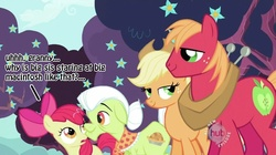 Size: 823x462 | Tagged: safe, edit, edited screencap, screencap, apple bloom, applejack, big macintosh, granny smith, earth pony, pony, applemac, caption, female, filly, hub logo, implied incest, male, mare, out of context, shipping, stallion, straight