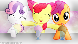 Size: 1366x768 | Tagged: safe, artist:jeremis, apple bloom, scootaloo, sweetie belle, cutie mark crusaders, milkshake, vector, wallpaper