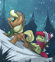 Size: 1058x1200 | Tagged: safe, artist:atryl, apple bloom, applejack, winona, dog, earth pony, pony, 30 minute art challenge, clothes, eyes closed, female, filly, hat, mare, open mouth, scarf, sisters, sled, smiling, snow, snowfall, tongue out, winter