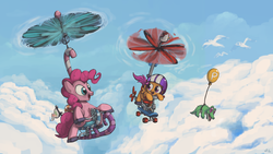 Size: 3200x1800 | Tagged: safe, artist:docwario, gummy, pinkie pie, scootaloo, seagull, balloon, cloud, cloudy, flying, pedalcopter, pinkiecopter