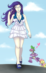 Size: 1200x1900 | Tagged: safe, artist:cartoonlion, fluttershy, rarity, spike, oc, oc:futashy, human, futaverse, breasts, busty rarity, cleavage, commission, female, futa, futa fluttershy, humanized, intersex, male, shipping, sparity, straight