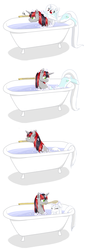 Size: 784x2312   Tagged: safe, artist:celerypony, oc, oc only, oc:celery, oc:silver screen, pony, bath, bathing, bathtub, brush, bubble, celery, claw foot bathtub, clean, cute, eyes closed, floppy ears, frown, long tail, mouth hold, mutual bathing, simple background, smiling, soap, wet mane, white background, yearly bath