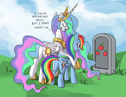 Size: 1280x985 | Tagged: applejack, artist:ponykillerx, bitchlestia, celestia's grave meme, cloud, crying, dead, dialogue, duo, duo female, eyes closed, female, grave, hilarious in hindsight, meme origin, plot, princess celestia, rainbow dash, safe, wavy mouth