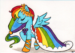 Size: 350x250 | Tagged: artist:nikkiwardart, clothes, dress, gala dress, rainbow dash, safe, solo