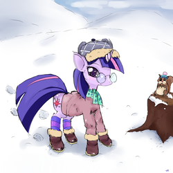 Size: 1000x1000 | Tagged: safe, artist:ezkarpy, twilight sparkle, animal, clothes, glasses, snow, winter