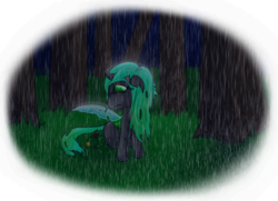 Size: 992x718   Tagged: safe, artist:wripple, queen chrysalis, changeling, changeling queen, insect, ladybug, nymph, crying, cute, cutealis, female, filly, filly queen chrysalis, flower, foal, forest, grass, lonely, rain, sad, sadorable, solo focus, younger
