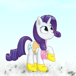 Size: 2000x2000 | Tagged: safe, artist:strachattack, rarity, pony, unicorn, winter wrap up, animal team, boots, clothes, female, looking up, mare, raised hoof, scarf, shoes, snow, solo, vest, winter, winter wrap up vest