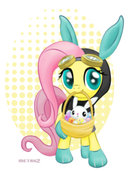Size: 783x998 | Tagged: safe, artist:metax-z, angel bunny, fluttershy, pegasus, pony, bunny ears, clothes, dangerous mission outfit, easter, easter egg, egg, female, goggles, hoodie, mare, mouth hold