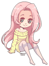 Size: 208x279 | Tagged: safe, artist:chocco-coco, fluttershy, clothes, female, humanized, pixel art, simple background, solo, sweater, sweatershy, transparent background