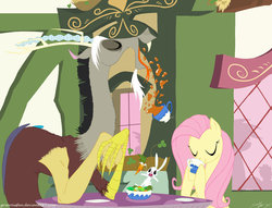 Size: 1022x781 | Tagged: safe, artist:grievousfan, angel bunny, discord, fluttershy, draconequus, pegasus, pony, rabbit, cafe, carrot, clover cafe, coffee, cup, drink, eyes closed, female, lunch, male, mare, salad, table, vector