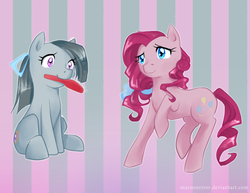 Size: 834x645 | Tagged: artist:maroonriver, brush, marble pie, pinkie pie, safe, twins