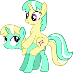 Size: 1223x1235 | Tagged: artist:chipmagnum, gemini, ponies riding ponies, ponyscopes, safe, twins, zodiac