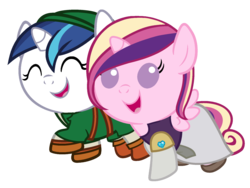 Size: 1920x1440 | Tagged: safe, artist:beavernator, princess cadance, shining armor, pony, all glory to the beaver grenadier, baby, baby cadance, baby pony, babying armor, clothes, crossover, cute, cutedance, dress, foal, link, princess zelda, shining adorable, simple background, the legend of zelda, transparent background, vector