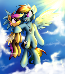 Size: 881x1000 | Tagged: safe, artist:kairaanix, rainbow dash, scootaloo, both cutie marks, chains, cloud, cloudy, duo, female, filly, flying, jewelry, mare, necklace, scootalove, sky, wings