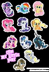 Size: 850x1247 | Tagged: safe, artist:stepandy, applejack, derpy hooves, doctor whooves, fluttershy, pinkie pie, princess cadance, queen chrysalis, rainbow dash, rarity, shining armor, time turner, twilight sparkle, alicorn, earth pony, pegasus, pony, unicorn, chibi, female, mane six, mare