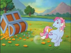 Size: 640x480   Tagged: safe, sweet stuff, twinkle eyed pony, g1, my little pony 'n friends, bubble, buck, bucking, coin, magic coins, treasure chest