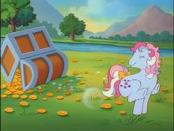 Size: 640x480   Tagged: safe, sweet stuff, pony, twinkle eyed pony, g1, my little pony 'n friends, bow, bubble, buck, bucking, chest, coin, eyes closed, female, gold, magic coins, physics, river, smiling, solo, tail bow, treasure chest, underhoof, wat