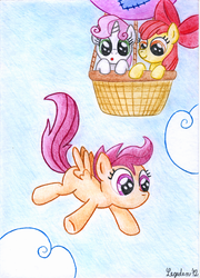 Size: 1249x1738 | Tagged: safe, artist:legeden, apple bloom, scootaloo, sweetie belle, balloon, cutie mark crusaders, falling, hot air balloon, scootaloo can't fly, this will end in tears, this will end in tears and/or death, this will end in tears and/or death and/or covered in tree sap, tree sap and pine needles