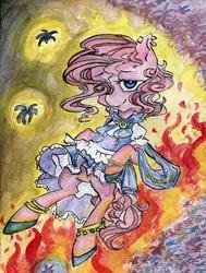 Size: 440x581 | Tagged: safe, artist:foxda, pinkie pie, earth pony, pony, friendship is witchcraft, bard, bipedal, clothes, dress, ear piercing, earring, female, fire, flower, gypsy pie, hyacinth, jewelry, piercing, solo, traditional art