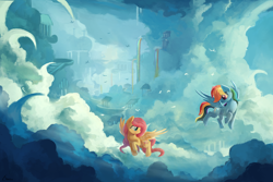 Size: 1000x667 | Tagged: artist:ajvl, cloud, cloudsdale, cloudy, female, fluttershy, flying, mare, pegasus, pony, rainbow dash, rainbow waterfall, safe, scenery, sky