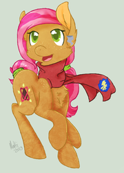Size: 468x650 | Tagged: safe, artist:flow3r-child, babs seed, chest fluff, clothes, cutie mark, older, scarf