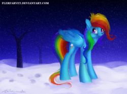 Size: 1200x893 | Tagged: safe, artist:flerfarvet, rainbow dash, snow, snowfall, winter