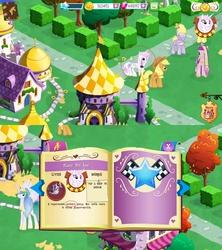 Size: 4552x5120 | Tagged: safe, applejack, fleur-de-lis, lyrica lilac, princess cadance, princess celestia, alicorn, pony, absurd resolution, canterlot, error, fleur-de-corne, gameloft, princess