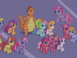 Size: 640x480 | Tagged: safe, cheerilee (g3), cherry blossom (g3), daisyjo, fiesta flair, rainbow dash (g3), scootaloo (g3), starsong, sweetie belle (g3), toola roola, whimsey weatherbe, twinkle wish adventure, background pony, boy ponies, boy pony, g3, g3.5