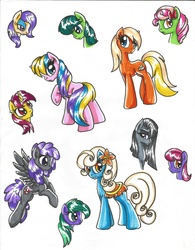 Size: 1700x2184 | Tagged: safe, artist:dgshadowchocolate, apple cobbler, aura (character), banana fluff, blueberry punch, florina tart, green jewel, holly dash, marble pie, minty apple, peppermint crunch, serena, starsong, sugar apple, vera, earth pony, pegasus, pony, unicorn, apple family member, background pony, bow, clothes, female, flower, flower in hair, flying, hair bow, mane bow, mare, saddle, skirt, tack, traditional art