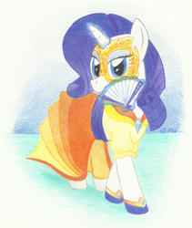 Size: 950x1125 | Tagged: safe, artist:videogamer-phil, rarity, clothes, dress, fan, female, folding fan, mask, solo, traditional art