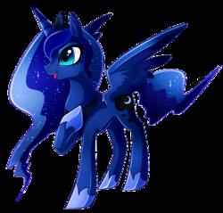 Size: 949x907 | Tagged: safe, artist:tamufisi, princess luna, alicorn, pony, cute, ethereal mane, female, lunabetes, mare, open mouth, raised hoof, simple background, solo, starry mane