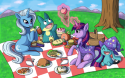 Size: 2340x1464   Tagged: safe, artist:catsncupcakes, trixie, twilight sparkle, alicorn, chicken, fish, munchlax, pony, shrimp, turkey, unicorn, wynaut, accessory swap, apple, burger, cake, cooked, crossover, cupcake, dead, egg (food), female, food, fork, fried egg, ham, hamburger, hot dog, knife, lesbian, magic, mare, meat, napkin, noodles, picnic, picnic basket, picnic blanket, pie, plate, pokémon, ponies eating meat, ponies eating seafood, product placement, sandwich, shipping, silverware, steak, telekinesis, tree, twix, twixie, x eyes