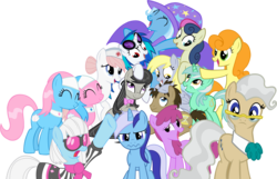 Size: 2302x1482 | Tagged: safe, artist:gengy23, aloe, berry punch, berryshine, bon bon, carrot top, derpy hooves, dj pon-3, doctor whooves, golden harvest, lotus blossom, lyra heartstrings, mayor mare, minuette, nurse redheart, octavia melody, photo finish, sweetie drops, time turner, trixie, vinyl scratch, pegasus, pony, female, glasses, mare, simple background, spa twins, transparent background, vector