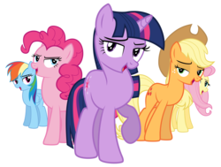 Size: 12298x9273 | Tagged: safe, artist:discorded, part of a set, applejack, fluttershy, pinkie pie, rainbow dash, twilight sparkle, games ponies play, absurd resolution, bedroom eyes, crystal empire cheer meme, run, simple background, transparent background, vector, wrong neighborhood