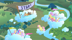 Size: 1280x720   Tagged: safe, screencap, alula, cloud kicker, cotton cloudy, cupid (character), dumbbell, fluttershy, hoops, mango dash, parasol, pinkie feather, pluto, rainbow dash, rainy feather, sea swirl, seafoam, sweet pop, tornado bolt, twinkleshine, pegasus, pony, unicorn, the cutie mark chronicles, cloud, colt, filly, flag, foal, race, standing on a cloud, younger