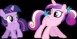 Size: 3167x1620 | Tagged: safe, artist:tourniquetmuffin, princess cadance, twilight sparkle, butt shake, female, filly, filly cadance, filly twilight sparkle, plot, simple background, sunshine sunshine, teen princess cadance, transparent background, vector, young twilight, younger