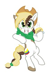 Size: 1332x1935 | Tagged: arepa, artist:1ltdaniels, bipedal, collaboration, colombia, country, flag, food, freckles, hat, hoof hold, looking at you, nation ponies, neckerchief, oc, oc:roasty bean, ponified, pony, safe, simple background, smiling, white background