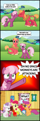 Size: 1048x3132 | Tagged: apple bloom, artist:bronybyexception, big macintosh, cheerilee, cheerimac, comic, cutie mark crusaders, earth pony, male, plushie, pointy ponies, pony, safe, scootaloo, shipper on deck, shipping, stallion, straight, sweetie belle, sweetie belle is not amused, unamused, wat