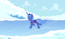 Size: 1276x775 | Tagged: safe, artist:tenchi-outsuno, princess luna, clothes, eyes closed, ice skating, s1 luna, scarf, snow, solo, winter