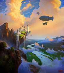 Size: 2284x2626 | Tagged: safe, artist:rhads, airship, canterlot, canterlot castle, castle, cliff, cloud, crag, featured image, flying, no pony, river, scenery, scenery porn, sky, waterfall