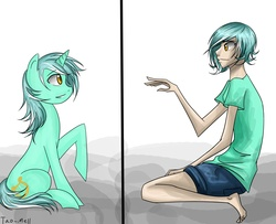 Size: 5543x4499   Tagged: safe, artist:tao-mell, lyra heartstrings, human, pony, unicorn, fanfic:anthropology, absurd resolution, cutie mark, fanfic, fanfic art, female, hooves, horn, human ponidox, humanized, mare, raised hoof, sitting, skinny