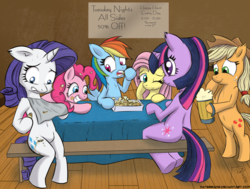 Size: 1920x1454 | Tagged: safe, artist:naterrang, applejack, fluttershy, pinkie pie, rainbow dash, rarity, twilight sparkle, pony, semi-anthro, belly button, bipedal, cheese, cider, eating, food, mane six, menu, nachos, plot