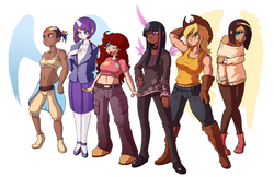 Size: 1763x1143 | Tagged: safe, artist:fore-trekker, applejack, fluttershy, pinkie pie, rainbow dash, rarity, twilight sparkle, human, applebucking thighs, armpits, belly button, choker, chubby, clothes, gloves, horned humanization, humanized, line-up, mane six, midriff, natural hair color, off shoulder, skirt, sports bra, stout, stout strength, suit, tanktop, twilight sparkle (alicorn), winged humanization