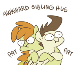 Size: 300x261 | Tagged: artist:egophiliac, awkward, awkward sibling hug, brother and sister, colt, female, filly, gravity falls, hug, male, pegasus, pony, pound cake, pumpkin cake, safe, siblings, simple background, slice of pony life, :t, tourist trapped, transparent background, twins, unicorn, woonoggles