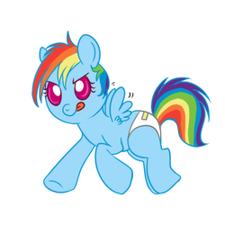 Size: 350x350 | Tagged: safe, artist:lulubell, rainbow dash, pegasus, pony, :p, baby, baby pony, cute, dashabetes, diaper, flapping, foal, simple background, smiling, solo, tongue out, white background, younger