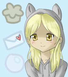 Size: 980x1100 | Tagged: safe, artist:kawaiicutie-chan, artist:sparkl3z, derpy hooves, clothes, heart, hoodie, humanized, muffin