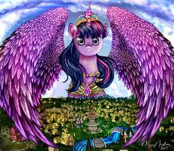 Size: 2300x2000 | Tagged: safe, artist:missyasylum, derpy hooves, twilight sparkle, alicorn, leviathan, pony, barn, big crown thingy, female, giant pony, house, houses, huge, macro, mare, mega giant, mega twilight sparkle, ponyville, ponyville town hall, river, town hall, twilight sparkle (alicorn)